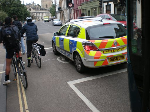 Police car in bike box