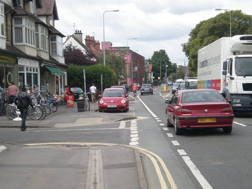 Cycle lane and parking bay