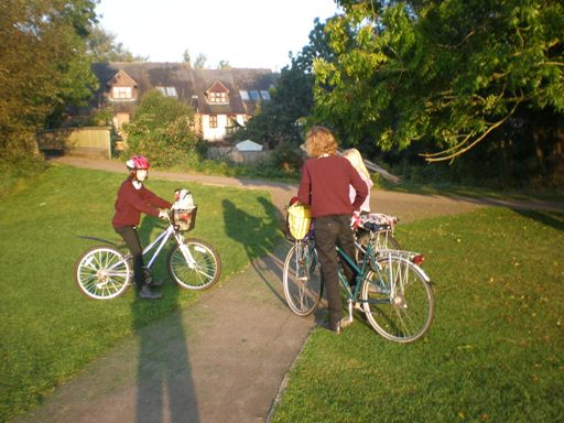 Waiting for friends, before cycling to school